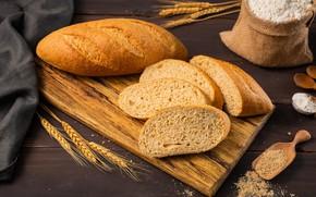 Picture spikelets, bread, flour, baton
