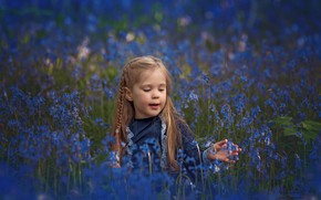 Picture flowers, meadow, girl, bells, pigtail, bokeh