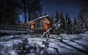 Picture winter, forest, snow, trees, landscape, night, house, France, ate, the fence, shadows, The Pyrenees
