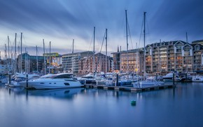 Picture clouds, the city, shore, England, building, home, boats, pier, port, boats, pond, a lot, blue …