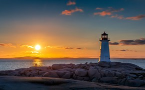 Picture sunset, coast, lighthouse