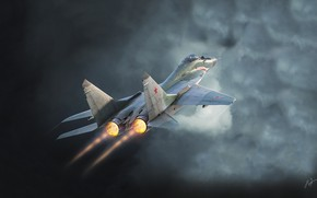 Wallpaper The plane, Fulcrum, Russia, MiG 29, Nozzle, Fighter, Clouds, The MiG-29, Antonis Karidis, Flies, by ...