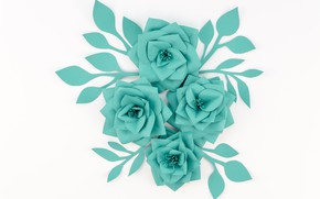 Picture white, flowers, paper, background, green