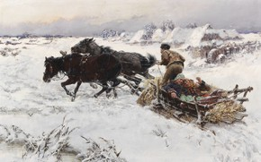 Picture 1890, oil on canvas, Czech painter, Jaroslav Veshin, Czech painter, Jaroslav Frantisek Julius Vesín, Merry …