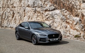 Picture rock, Jaguar, sedan, four-door, 2020, gray-silver, Jaguar XE