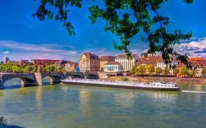 Picture bridge, river, home, Switzerland, Basel