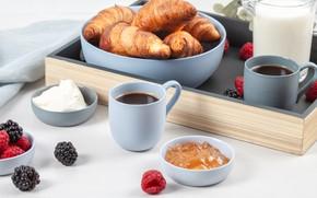 Picture coffee, Breakfast, milk, cream, tray, croissants