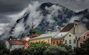 Picture clouds, mountains, the city, home, Austria, Tyrol, Innsbruck