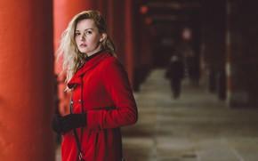 Picture look, pose, blonde, gloves, coat, bokeh, Carla Monaco