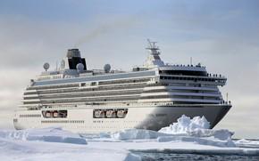 Picture Winter, The ocean, Sea, Liner, Ice, Antarctica, The ship, Passenger ship, Cruise Ship, Passenger Ship, …