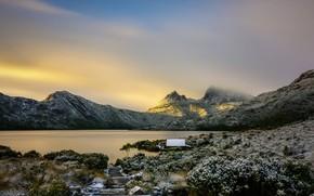 Picture winter, mountains, Australia, Tasmania, Hobart, lake Giving