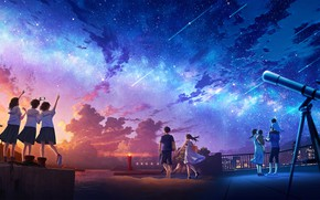 Picture roof, the city, people, Starfall