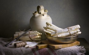 Picture the dark background, table, rope, knife, pitcher, still life, items, composition, asparagus