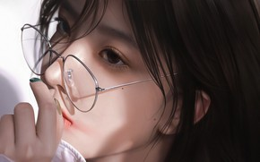 Picture face, hand, glasses, Asian, moles, portrait of a girl, by 3d render