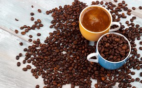 Picture coffee, Cup, coffee beans, wood, coffe