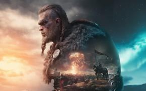 Picture game, castle, axe, art, battle, axe, warriors, games, art, Viking, viking, the standard-bearer, Drakkar, eivor, …