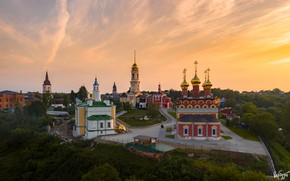 Picture landscape, the city, tower, temple, dome, Ilya Garbuzov, Белёв, Спасо-Преображенский мужской монастырь