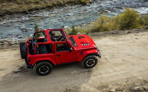 Picture road, water, red, stream, 2018, Jeep, Wrangler Rubicon