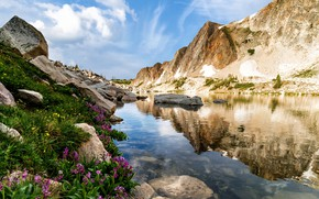 Picture water, landscape, mountains, nature, stones, vegetation, Wyoming, USA