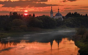Picture the sun, trees, landscape, sunset, nature, vegetation, the evening, Church, the bushes, Bank, river, Gregory …