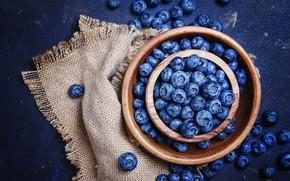 Picture berries, placer, a lot, burlap, blue background, blueberries, bowls