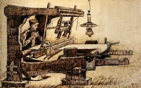 Picture lamp, Vincent van Gogh, Weaver 2, weaver with a cigarette
