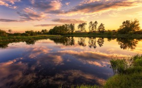 Picture summer, trees, sunset, nature, reflection, river, Alexey Malygin