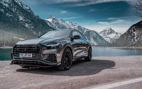 Picture the sky, mountains, lake, Audi, Audi, ABBOT, 2019, Audi Q8