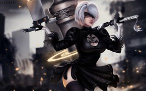 Picture girl, fiction, the game, anime, art, Nier Automata