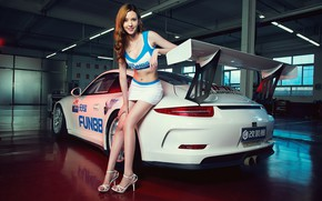 Picture look, Girls, Porsche, beautiful girl, leaning on the car, white car