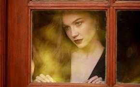 Picture girl, photo, blue eyes, model, bokeh, window, lips, brunette, portrait, mouth, Emily Bloom, red lipstick, …
