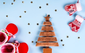 Picture holiday, toy, shoes, shoes, Christmas, New year, boots, herringbone, stars, wooden, blue background, mittens, figure, …