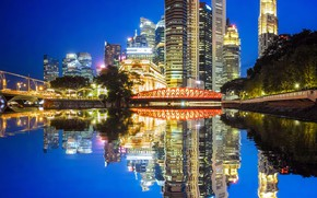 Picture water, trees, night, lights, reflection, river, building, home, Chicago, lights, USA, bridges, promenade, skyscrapers