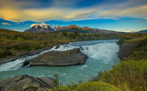 Picture mountains, river, Argentina, Patagonia
