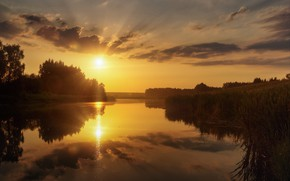 Picture summer, the sky, rays, sunset, reflection, river, Agoranov Alex