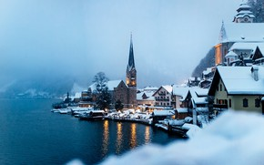 Picture winter, water, fog, lake, home, Austria, Austria, Hallstatt, Lake Hallstatt, Hallstatt, Lake Hallstatt, Hallstatt