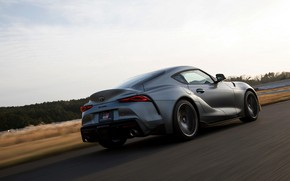 Picture grey, coupe, Toyota, track, in motion, Supra, the fifth generation, mk5, double, 2019, GR Above, …