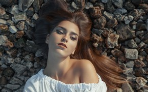 Picture girl, face, pose, stones, mood, hair, portrait, makeup, shoulder, Anastasia, Vadim Mironov