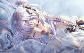 Picture girl, red rose, water drops, closed eyes, bangs, transparent fabric, lilac hair, Azur Lane, the …