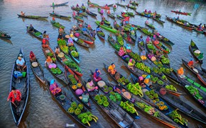 Picture vegetables, trade, canoes, products, merchandise, foodstuffs