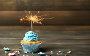 Picture birthday, holiday, cream, dessert, wood, decor, cupcake, cupcake