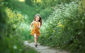 Picture summer, happiness, childhood, hair, girl, path, sundress