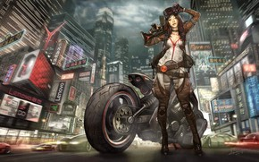 Picture Girl, The city, Asian, Girl, Motorcycle, City, Moto, Weapons, Art, Art, Fiction, Illustration, Characters, Biker, …