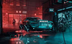 Picture Reflection, Auto, The city, Neon, Machine, People, Style, City, Car, Fantasy, Auto, Render, Style, Night, …