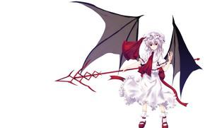 Picture girl, white background, spear, Touhou, Touhou, Touhou