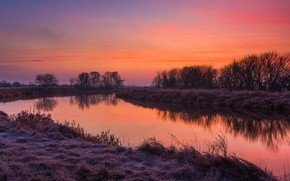 Picture frost, autumn, the sky, grass, trees, sunset, reflection, river, shore, the evening, pond