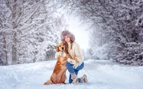 Picture winter, girl, snow, trees, nature, animal, dog, hugs, dog, Retriever, Victoria Dubrovskaya