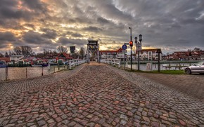 Picture clouds, river, river, Germany, bridge, Germany, home, street, the evening, car, machine, lights, evening