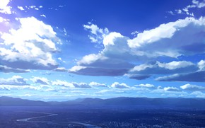 Picture the sky, clouds, mountains, river, Grod