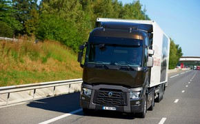 Picture track, truck, Renault, brown, tractor, 4x2, the trailer, Renault Trucks, T-series